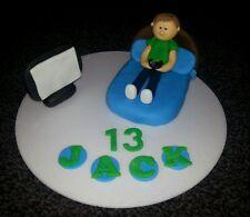 COMMESTIBILE fatto a mano ragazzi, letto, games console di gioco, COMPLEANNO CAKE TOPPER 16th 18th