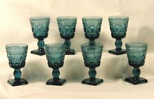 Set of Lovely 8 Piece Glass Bluish Green Cordial Glasses