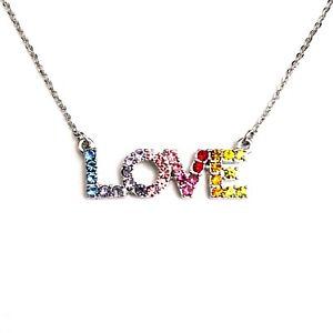 Gay Lesbian LGBT 70 80 90s Pride Rainbow Rhinestone Love Pendant Necklace Choker