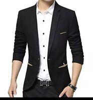 Benibos Men's Casual 1 Button Slim Fit Blazer Suit Jacket Black Size L M2