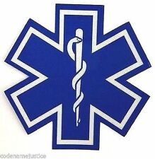 "STAR OF LIFE 10"" x 10"" Highly REFLECTIVE  AMBULANCE decal Star of Life EMS Decal"