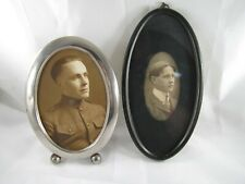 2 Antique Simple Small Picture Frames one with Wwi Soldier