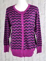 Jon & Anna New York Women's Chevron Cardigan Sweater Purple Black Large L New