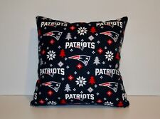 NFL NEW ENGLAND PATRIOTS HOLIDAY FLANNEL 12X12 THROW PILLOW/ BLACK FLEECE BACK