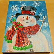 Christmas Decoration Snowman Canvas with Twinkling Lights Kickstand