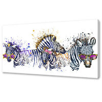Cute Zebra Family canvas print picture wall art home decor free fast UK delivery
