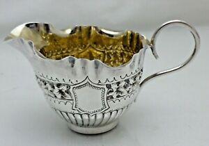 Antique Victorian 1890 Solid Sterling Silver Cream Jug Creamer  (KSY)