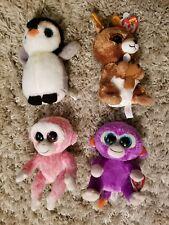 Cute Lot of 4 Ty Beanie Boos Monkey Ruby Grapes Kipper Kangaroo Pongo Penguin