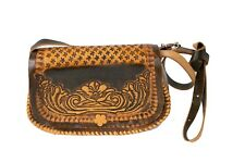 Mexican Tooled Leather Purse Roses Flowers Handbag