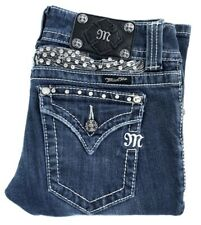 Miss Me JP5011-3 Women's Blue Embellished Bejeweled Bootcut Denim Jeans Size:25