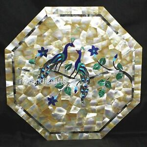 15 Inches Pair of Peacock Art Inlay Corner Table Top Octagon Marble Coffee Table