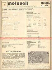 HONDA XL 125 Fiche Technique Electrique Moto 000358