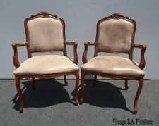 Pair of Vintage French Country Brown Leather Accent Chairs Set 2