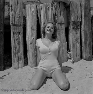 Bunny Yeager Pin-up Camera Negative Photograph Lovely Smiling Figure Model Pier