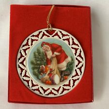 Lenox Wreath Ornament Santa's Portrait with Box The Visit 1989