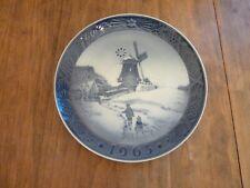 1963 Royal Copenhagen Christmas Plate Children Sledding Windmill