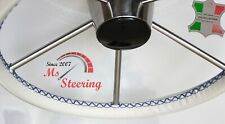 BREWER 12.8 BOAT CREME LEATHER STEERING WHEEL COVER 35''- 39'' NAVY BLUE 2 STIT