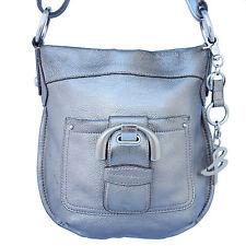 B. MAKOWSKY Small/Medium METALLIC SILVER Leather CrossBody Handbag Purse