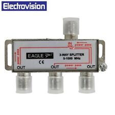 More details for electrovision 3 way satellite splitter with dc pass & screws f282lb *free post*
