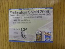 22/10/2006 Ticket Rugby League-Angleterre/France & Tonga et Samoa [at Leeds Rhi