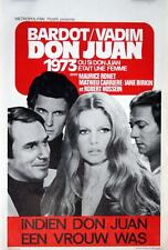 DON JUAN Belgian movie poster BRIGITTE BARDOT JANE BIRKIN ROGER VADIM 1973 MINT