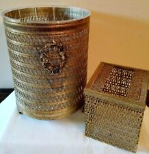 Vtg Stylebuilt Gold Gilt Filigree Trash Can Wastebasket Liner Tissue Box Holder