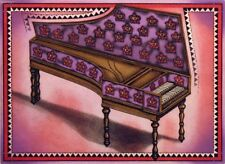 """J. Cortin """"Harpsichord"""" Hand Signed Color Etching musical instrument Make Offer!"""