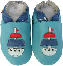 shoeszoo sailboat turquoise 2-3y S soft sole leather baby shoes