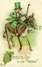 St Patrick's Day Fabric Block Vintage Postcard on Fabric Donkey Shamrock