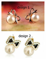Super cute pearl and bow stud earrings multiple choices