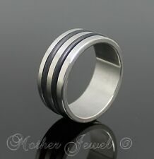 8MM STAINLESS STEEL TWO ROW BAND MENS WOMENS WEDDING ANNIVERSARY RING SIZE 7 N