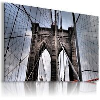 NEW YORK CITY BROOKLYN BRIDGE View Canvas Wall Art Picture Large L84  MATAGA