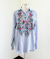 Zara Woman Blue White Striped Floral Embroidered Button Front Blouse Shirt Sz XS