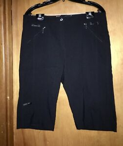 Jamie Sadock Women Size 12 Black Golf Capri Shorts Pants Zipper Pockets 34 Waist