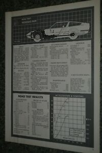 ★★1970 MASERATI INDY ORIGINAL FIRST LOOK ROAD TEST INFO SPEC SHEET 70