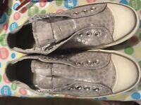 converse one star silver shoes size 10