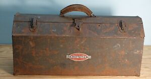 """=CRAFTSMAN= 19"""" Metal Tombstone Hip Roof Tool Box w/ Leather Handle & Tray"""