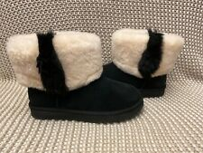 UGG CLASSIC MINI WISP BLACK SHEEPSKIN CUFF BOOT US 9 / EU 40 / UK 7 NIB