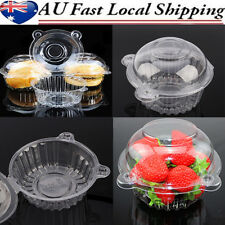 100pcs Clear Cup Cake Case Muffin Pods Domes Food Storage Plastic Boxes Takeaway