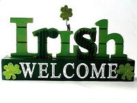 "ST PATRICK'S DAY TABLE TOP WOODEN DECORATION ""IRISH WELCOME"" IRISH DECOR"