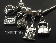 Beauty and the Beast European Bracelet Charms Sliders Books Teapot Castles Roses