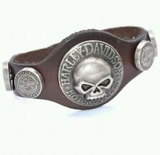 New Harley Davidson Willie G Skull Leather Bracelet Cuff Band Strap