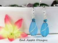 SEA GLASS Teardrop Caribbean Blue Swirl SILVER Dangle Earrings USA HANDMADE