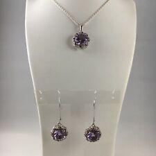 'Galaxia' Pink Amethyst, Rhodolite Garnet, White Topaz Silver Pendant & Earrings