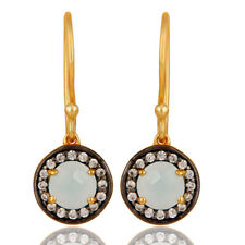 18k Gold Plated Chalcedony White Zirconia New fashion Woman Earrings Jewelry