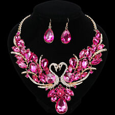Double Swan Pink Crystal Jewelry Set For Brides Necklace Earring Wedding Prom