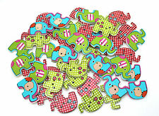 30 WOODEN ELEPHANT ANIMAL BUTTONS MULTI COLOUR SEWING SCRAPBOOKING EMBELISHMENTS