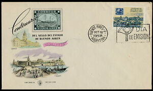 Argentina C72 on FDC - Stamp on Stamp, Ship, Architecture