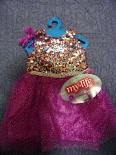 """My Life 18"""" Doll Clothes! Purple & Multi-Colored Sequin Dress with Hair Bow"""
