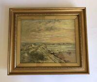 H BRANDON DAVIS Original Oil Painting On Canvas Gilt Frame 1921 Dunes Seascape